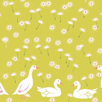 Stoffdesign-Entwurf mit Gänsen und Pusteblumen