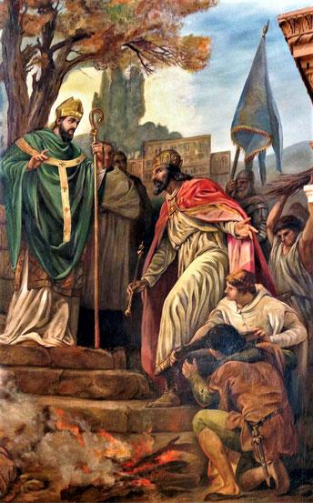 Saint-Patrick prêche devant un roi.