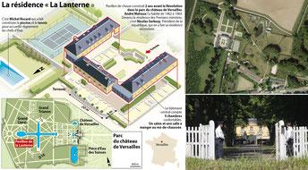 Résidence La Lanterne à Versailles : Plan, vue aérienne et entrée.