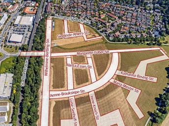 So sollen die Straßen im Duisburger Neubaugebiet Am Alten Angerbach heißen: Alle werden nach Frauen benannt. (WAZ-Foto: Selina Sielaff / funkegrafik nrw)