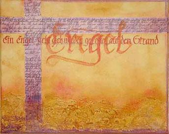 Kalligrafie Acrylbild mit Schrift Fraktur Novalis Rettung