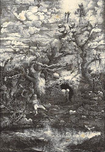 La Comédie de la Mort - Gravure de Rodolphe Bresdin - Coll. Georges Jauffret