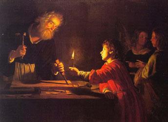 Gerrit Van Honthorst, Gesù nella bottega di San Giuseppe - 1620