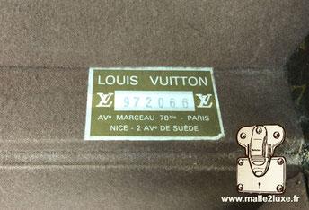 Etiquette malle et valise Louis Vuitton :    Avenue marteau 78 bis Paris Nice 2 avenue de suède