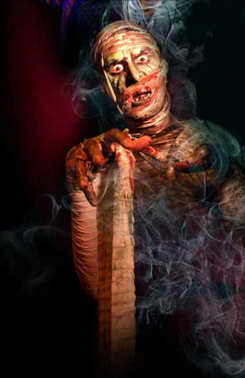 Nathan Head as Mummy Khamundi - Publicity for Scare Kingdom