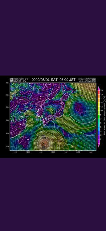 今年の台風1号の予想図