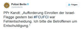 Tweet der Polizei Berlin