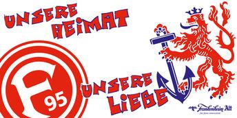 Logo Fortuna Düsseldorf und der Bergische Löwe mit dem Schriftzug Unsere Heimat Unsere Liebe