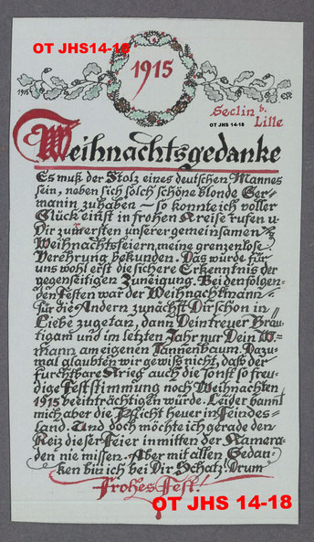 Poème de Noël 1915 d'Ernst Kopp à son épouse - Propriété exclusive : OT JHS14-18© (Reproduction et copie interdites)