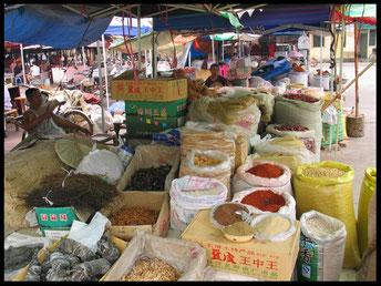 Chinese kruiden op een markt in China. (foto gemaakt door Marina van Kuilennburg)