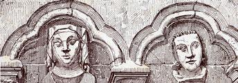 Têtes sculptées (Illustration de N. Vivien)