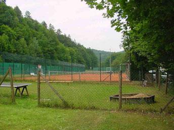 Der Blick vom Backofengelände auf die Tennisanlage