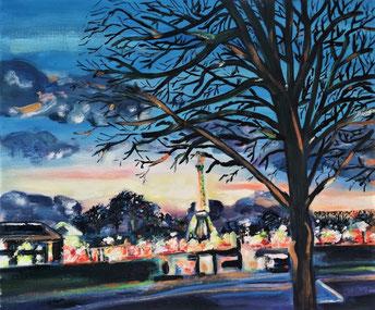 Sous le ciel des Tuileries, peinture à l'huile, Claire ALLARD