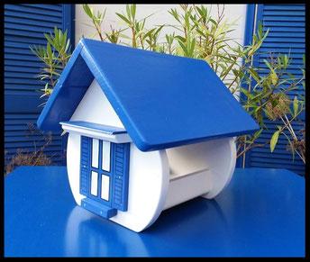 voederhuisje, vogelvoederhuis blauw en wit, Grieks huisje, beschilderd vogelhuisje, houten vogelhuisje