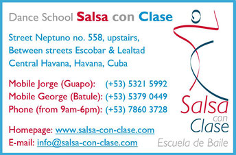 Business card of dance school Salsa con Clase