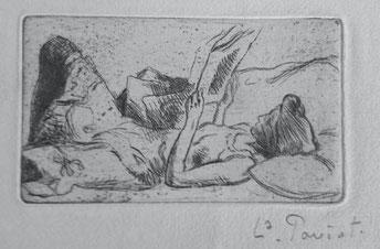 Louis Paviot, La liseuse, 5,4 x 9,2 cm.