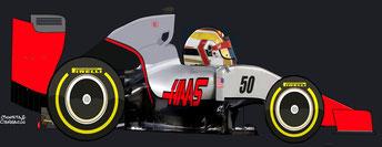 Charles Leclerc by Muneta & Cerracín - Haas VF-16 - Ferrari V6 turbo