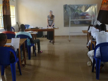Jillian teaching Enlish at the school