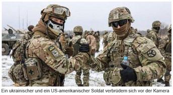 Bewegung Oder-Neiße-Friedensgrenze - US/NATO-Soldat und Ukrainischer Soldat