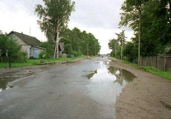 die Dorfzufahrt von Jarzewo
