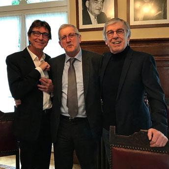 Michel Picoty (garde des seaux des gamelles des bidons et des cuves du Creusekistan), Émile Roger Lombertie (maire de Limoges) et Jean-Paul Renvoizé (président du Creusekistan Nord).