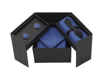 Luxuriöse Krawatten Geschenkbox für Krawatte, Manschettenknöpfen und Einstecktuch