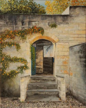 """Schloss in Maastricht"" 40 x 50 cm Acryl auf Leinwand"