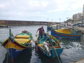 luzzu boats, Gozo, Malta