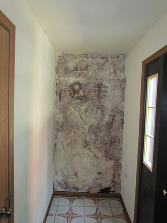 Removal of wallpaper shows what water leak has done to wall board.