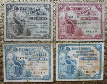 5 francos del Congo belga a Ruanda-Urundi 1921-1958 anversos