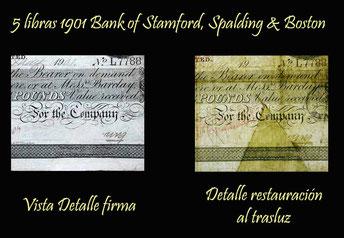 Detalle restauración en la parte del billete de 5 libras 1901 recortada para su cancelación y desmonetización.