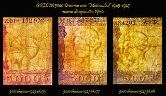 Grecia 5000 dracmas 1945-1947 serie Maternidad marcas de agua