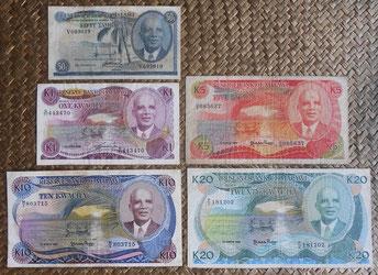 Malawi serie tambalas y kwachas años '70-'80 s.XX anversos