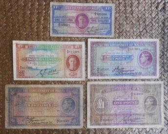 Malta serie shilligs & pounds pre WWII 1939-1943 Jorge VI