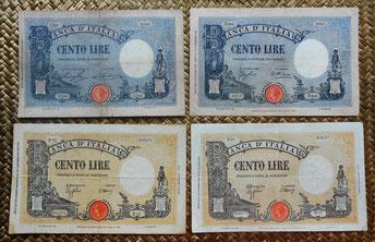 Italia 100 liras serie Barbetti -Grande B- 1896 a 1944 anversos