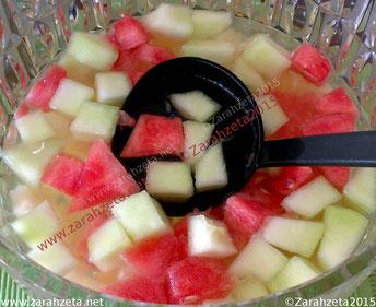 Melonenbowle mit gelber und roter Melone