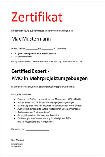 Zertifizierung - PPM - Projekt Portfolio Management