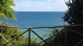 Ausblick Meer Ancona Park Italien Adria Karibik Holz-Geländer schön Urlaub