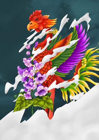xola, shora, ifo, phoenix, IFOSKATEBOARD, hanafuda, rinpaeshidan, lightsteps, illustration, ufo, ifo
