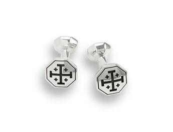 silberne Manschettenknöpfe mit Jerusalemkreuz achteckig