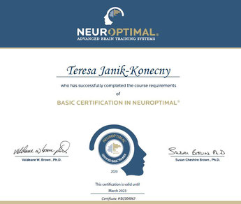 "Zertifikat ""Basic Certification in NeurOptimal®"" von Teresa Janik-Konecny"