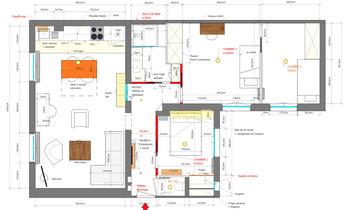 Agencement pièce de vie, pièce de vie appartement, plan coté, décoration d'intérieur, décoration d'intérieur Boulogne-Billancourt, plan de niveau, sketchup