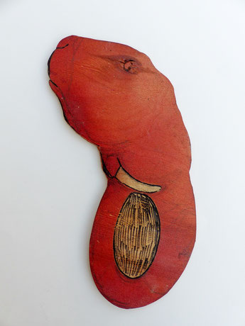 Fanthase, 2007 Acryl, Lackstift auf Sperrholz, 17,5x15 cm