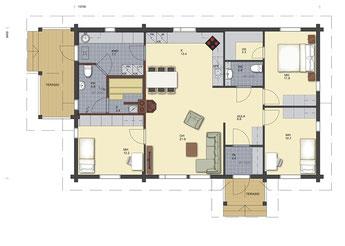 Wohnblockhaus (8,30x13,70) - Bungalow 115 ist für eine Familie bis vier Personen geeignet
