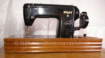 Pfaff 6 Geradestichnähmaschine, Flachbett, Handkurbelantrieb, normale Vorrichtung für Anbaumotor vorhanden, Baujahr 1955, Hersteller: G. M. Pfaff AG, Kaiserslautern (Bilder: D. Pohlmann)