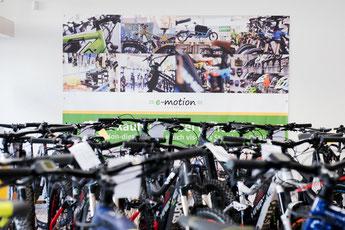 Erleben Sie die große Markenvielfalt in der e-motion e-Bike Welt Dietikon in der Schweiz