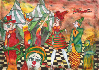 Illustre Gesellschaft vor dem Zirkus
