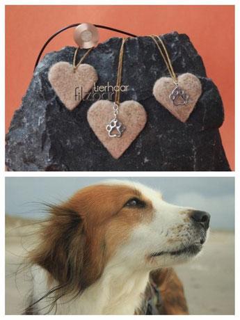 Herz aus Hundehaar; Tierhaarschmuck