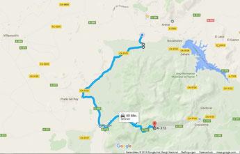Übersichtskarte - Anfahrt von uns aus über CA-4405, CA-8102, A-373 und A-372 (c) Google Maps