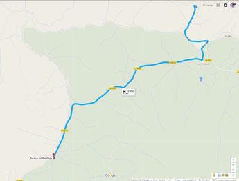 Übersichtskarte - Anfahrt von uns aus über die CA-8102 (c) Google Maps